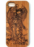 Angel bamboo wood iPhone case for iPhone 6, iPhone 6s, iPhone 6 plus, iPhone 7, iPhone 7 plus, iPhone 8, iPhone 8 plus, iPhone X, XS, XR, XS Max