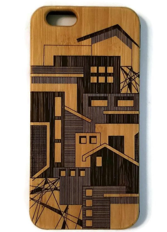 Architectural Abstract bamboo wood case iPhone 6, iPhone 6s, iPhone 6 plus, iPhone 7, iPhone 7 plus, iPhone 8, iPhone 8 plus, iPhone X, XS, XR, XS Max