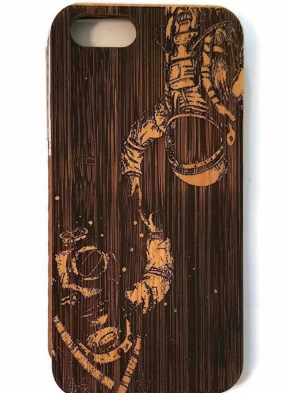 Astronaut & Diver bamboo wood iPhone case for iPhone 6, iPhone 6s, iPhone 6 plus, iPhone 7, iPhone 7 plus, iPhone 8, iPhone 8 plus, iPhone X, XS, XR, XS Max