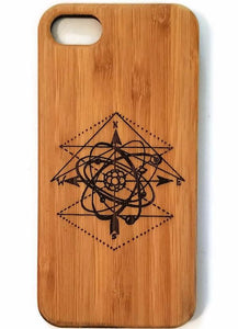Atom & Solar System bamboo wood iPhone case iPhone 6, iPhone 6s, iPhone 6 plus, iPhone 7, iPhone 7 plus iPhone 8, iPhone 8 plus, iPhone X, XS, XR, XS Max