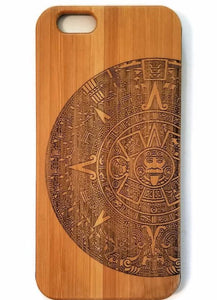Aztec Calendar bamboo wood iPhone case for iPhone 6, iPhone 6s, iPhone 6 plus, iPhone 7, iPhone 7 plus, iPhone 8, iPhone 8 plus, iPhone X, XS, XR, XS Max