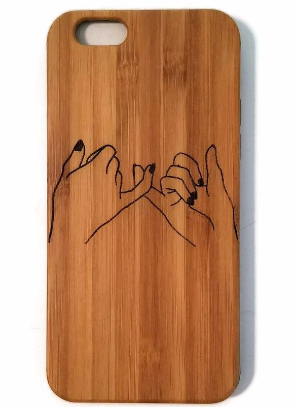 Best Friends bamboo wood phone case for iPhone 6, iPhone 6s, iPhone 6 plus, iPhone 7, iPhone 7 plus, iPhone 8, iPhone 8 plus, iPhone X, XS, XR, XS Max