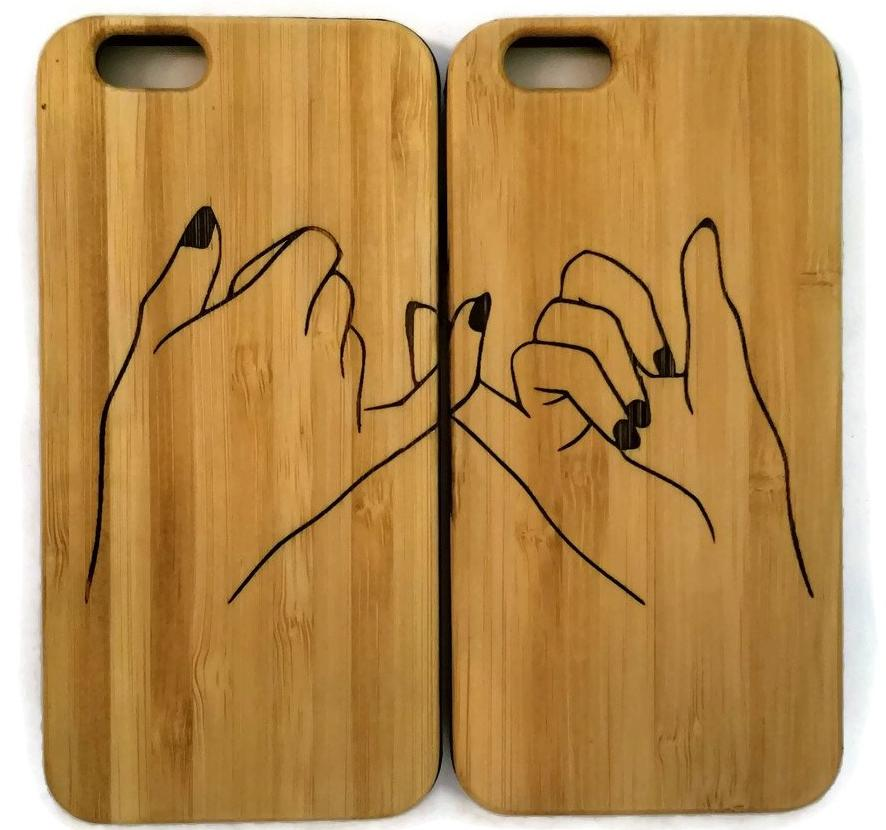 quality design 86132 885ec Best Friends bamboo wood cases (pair) for iPhone 6, iPhone 6s, iPhone 6  plus, iPhone 7, iPhone 7 plus, iPhone 8, iPhone 8 plus, iPhone X, XS, XR,  XS ...