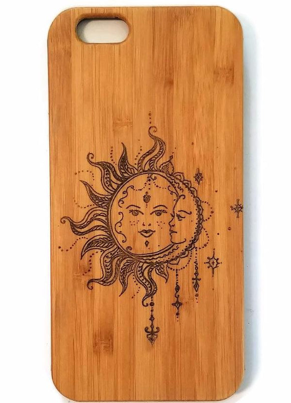 Bohemian Sun & Moon bamboo wood iPhone case iPhone 6, iPhone 6s, iPhone 6 plus, iPhone 7, iPhone 7 plus, iPhone 8, iPhone 8 plus, iPhone X, XS, XR, XS Max