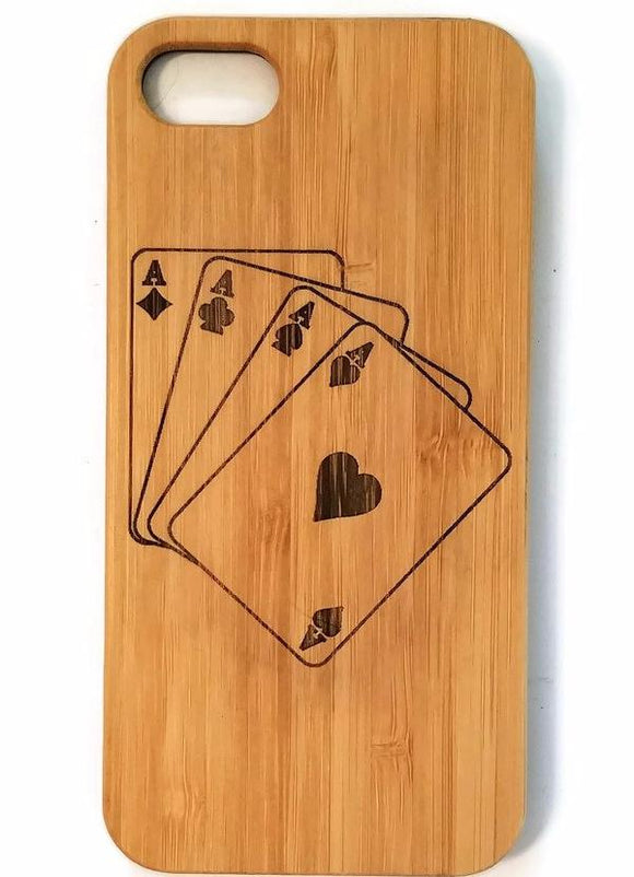 Four Aces bamboo wood iPhone case for iPhone 6, iPhone 6s, iPhone 6 plus, iPhone 7, iPhone 7 plus, iPhone 8, iPhone 8 plus, iPhone X, XS, XR, XS Max