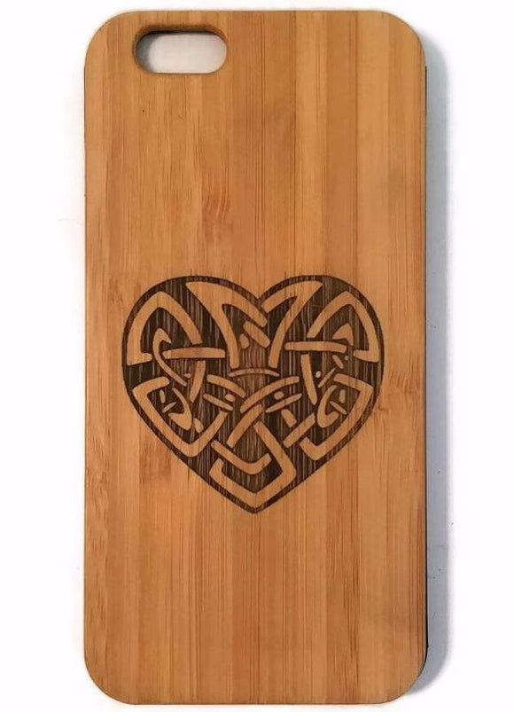 Celtic Love Knot bamboo wood iPhone case for iPhone 6, iPhone 6s, iPhone 6 plus, iPhone 7, iPhone 7 plus, iPhone 8, iPhone 8 plus, iPhone X, XS, XR, XS Max