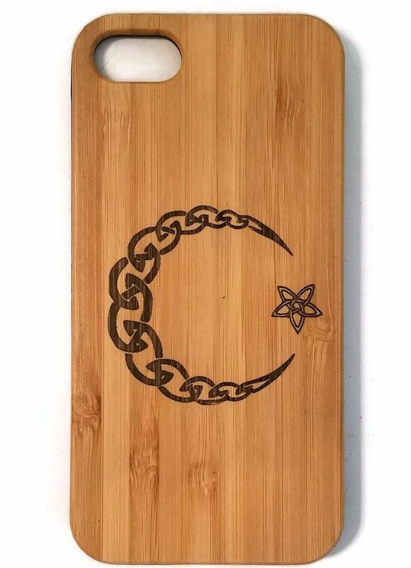 Celtic Moon & Star bamboo wood iPhone case iPhone 6, iPhone 6s, iPhone 6 plus, iPhone 7, iPhone 7 plus, iPhone 8, iPhone 8 plus, iPhone X, XS, XR, XS Max