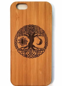 Celtic Tree of Life bamboo wood iPhone case iPhone 6, iPhone 6s, iPhone 6 plus, iPhone 7, iPhone 7 plus, iPhone 8, iPhone 8 plus, iPhone X, XS, XR, XS Max