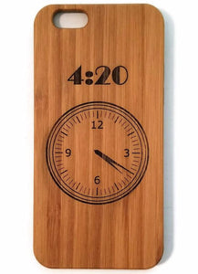 Four Twenty Clock wood phone case for iPhone 6, iPhone 6s, iPhone 6 plus, iPhone 7, iPhone 7 plus, iPhone 8, iPhone 8 plus, iPhone X, XS, XR, XS Max