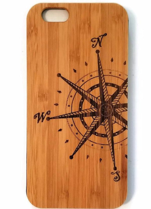 Compass Rose bamboo wood iPhone case for iPhone 6, iPhone 6s, iPhone 6 plus, iPhone 7, iPhone 7 plus, iPhone 8, iPhone 8 plus, iPhone X, XS, XR, XS Max