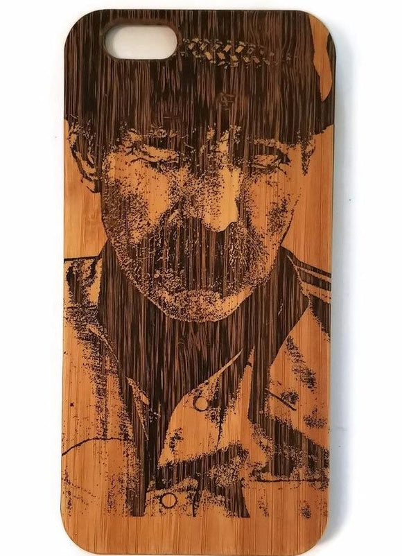 Cowboy bamboo wood iPhone case for iPhone 6, iPhone 6s, iPhone 6 plus, iPhone 7, iPhone 7 plus, iPhone 8, iPhone 8 plus, iPhone X, XS, XR, XS Max