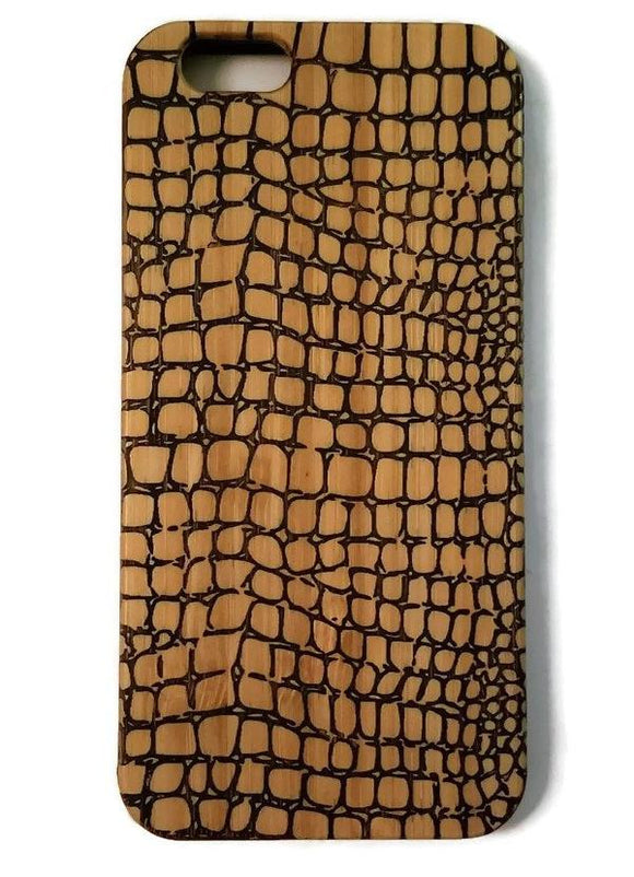 Crocodile Skin bamboo wood case for iPhone 6, iPhone 6s, iPhone 6 plus, iPhone 7, iPhone 7 plus, iPhone 8, iPhone 8 plus, iPhone X, XS, XR, XS Max