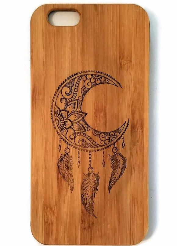 Crescent Moon Dreamcatcher bamboo wood iPhone case iPhone 6 iPhone 6s iPhone 6 plus iPhone 7 iPhone 7 plus iPhone 8 iPhone 8 plus iPhone X, XS, XR, XS Max