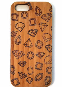 Gemstones bamboo wood iPhone case for iPhone 6, iPhone 6s, iPhone 6 plus, iPhone 7, iPhone 7 plus, iPhone 8, iPhone 8 plus, iPhone X, XS, XR, XS Max