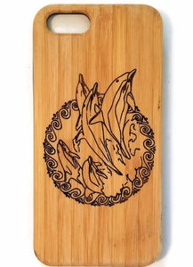 Dolphins bamboo wood iPhone case for iPhone 6, iPhone 6s, iPhone 6 plus, iPhone 7, iPhone 7 plus, iPhone 8, iPhone 8 plus, iPhone X, XS, XR, XS Max