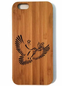 Dove & Olive Branch bamboo wood iPhone case, XS, XR, XS Max