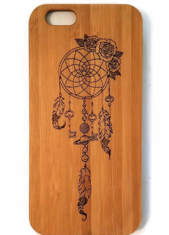 Dreamcatcher bamboo wood iPhone case for iPhone 6, iPhone 6s, iPhone 6 plus, iPhone 7, iPhone 7 plus, iPhone 8, iPhone 8 plus, iPhone X, XS, XR, XS Max