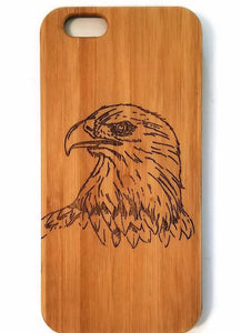 Eagle bamboo wood iPhone case for iPhone 6, iPhone 6s, iPhone 6 plus, iPhone 7, iPhone 7 plus, iPhone 8, iPhone 8 plus, iPhone X, XS, XR, XS Max