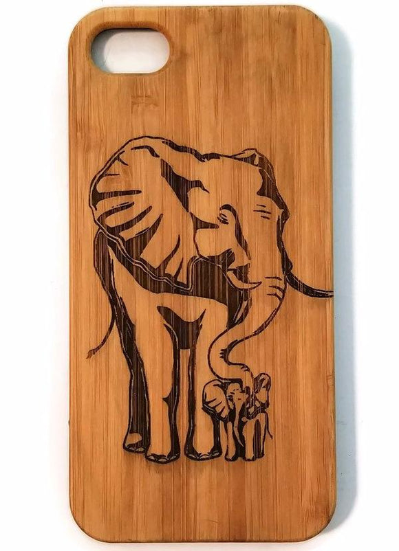 Elephant & Calf bamboo wood iPhone case for iPhone 6, iPhone 6s, iPhone 6 plus, iPhone 7, iPhone 7 plus, iPhone 8, iPhone 8 plus, iPhone X, XS, XR, XS Max