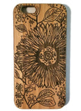 Flower & Leaves bamboo wood case for iPhone 6, iPhone 6s, iPhone 6 plus, iPhone 7, iPhone 7 plus, iPhone 8, iPhone 8 plus, iPhone X, XS, XR, XS Max