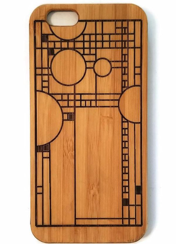 Frank Lloyd Wright bamboo wood iPhone case iPhone 6, iPhone 6s, iPhone 6 plus, iPhone 7, iPhone 7 plus, iPhone 8, iPhone 8 plus, iPhone X, XS, XR, XS Max