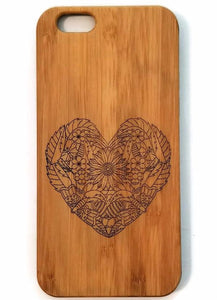 Garden Heart bamboo wood iPhone case for iPhone 6, iPhone 6s, iPhone 6 plus, iPhone 7, iPhone 7 plus, iPhone 8, iPhone 8 plus, iPhone X, XS, XR, XS Max