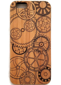 Steampunk Gears bamboo wood case for iPhone 6, iPhone 6s, iPhone 6 plus, iPhone 7, iPhone 7 plus, iPhone 8, iPhone 8 plus, iPhone X, XS, XR, XS Max