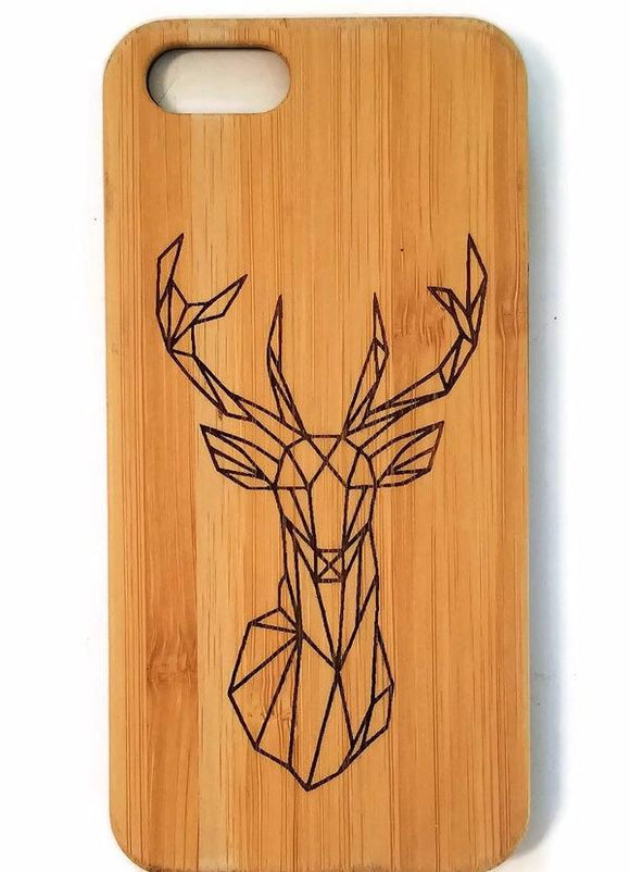 Geometric Deer bamboo wood iPhone case for iPhone 6, iPhone 6s, iPhone 6 plus, iPhone 7, iPhone 7 plus, iPhone 8, iPhone 8 plus, iPhone X, XS, XR, XS Max