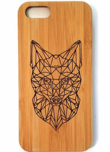 Geometric Fox bamboo wood iPhone case for iPhone 6, iPhone 6s, iPhone 6 plus, iPhone 7, iPhone 7 plus, iPhone 8, iPhone 8 plus, iPhone X, XS, XR, XS Max