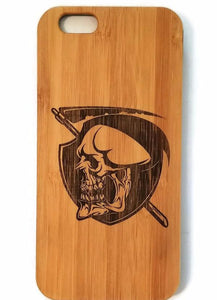 Grim Reaper bamboo wood iPhone case for iPhone 6, iPhone 6s, iPhone 6 plus, iPhone 7, iPhone 7 plus, iPhone 8, iPhone 8 plus, iPhone X, XS, XR, XS Max