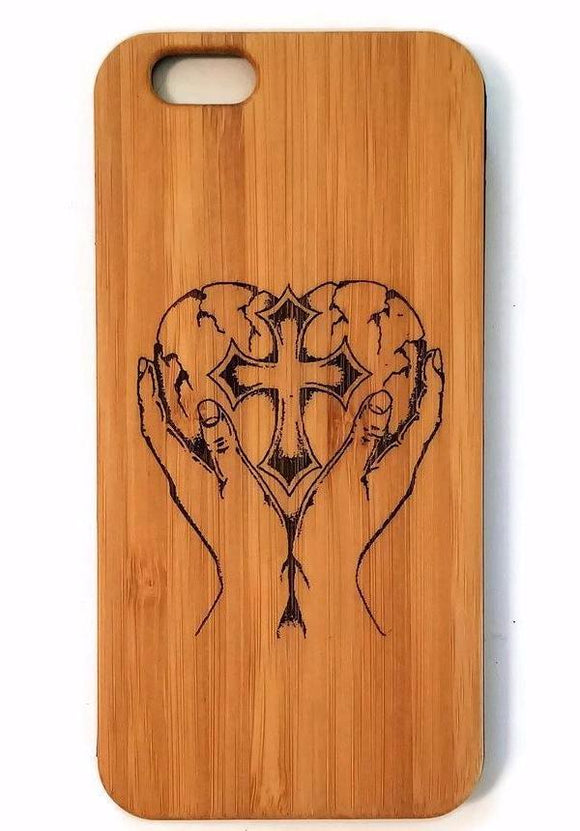 Heart In Hands bamboo wood iPhone case for iPhone 6, iPhone 6s, iPhone 6 plus, iPhone 7, iPhone 7 plus, iPhone 8, iPhone 8 plus, iPhone X, XS, XR, XS Max