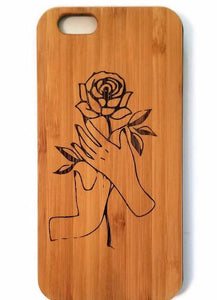 Rose bamboo wood iPhone case for iPhone 6, iPhone 6s, iPhone 6 plus, iPhone 7, iPhone 7 plus, iPhone 8, iPhone 8 plus, iPhone X, XS, XR, XS Max