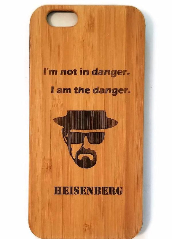 Heisenberg I Am the Danger bamboo wood iPhone case iPhone 6 iPhone 6s iPhone 6 plus iPhone 7 iPhone 7 plus iPhone 8 iPhone 8 plus iPhone X, XS, XR, XS Max