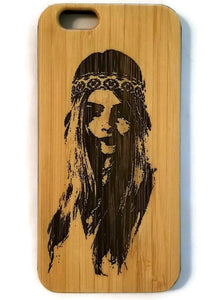Hippie Girl bamboo wood case for iPhone 6, iPhone 6s, iPhone 6 plus, iPhone 7, iPhone 7 plus, iPhone 8, iPhone 8 plus, iPhone X, XS, XR, XS Max