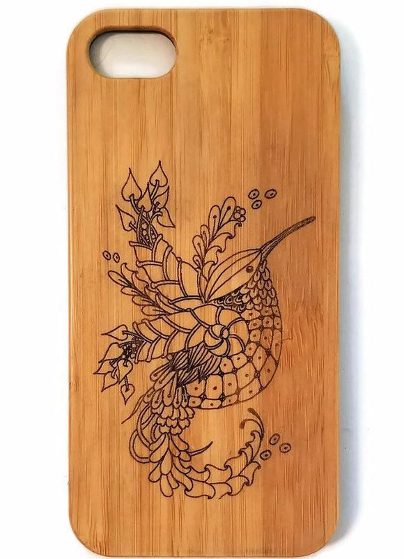 Hummingbird bamboo wood iPhone case for iPhone 6, iPhone 6s, iPhone 6 plus, iPhone 7, iPhone 7 plus, iPhone 8, iPhone 8 plus, iPhone X, XS, XR, XS Max