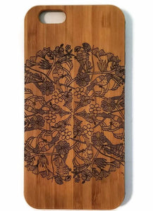 Jungle Mandala bamboo wood iPhone case for iPhone 6, iPhone 6s, iPhone 6 plus, iPhone 7, iPhone 7 plus, iPhone 8, iPhone 8 plus, iPhone X, XS, XR, XS Max