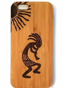 Kokopelli bamboo wood iPhone case for iPhone 6, iPhone 6s, iPhone 6 plus, iPhone 7, iPhone 7 plus, iPhone 8, iPhone 8 plus, iPhone X, XS, XR, XS Max