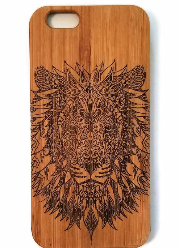 Tribal Lion bamboo wood iPhone case for iPhone 6, iPhone 6s, iPhone 6 plus, iPhone 7, iPhone 7 plus, iPhone 8, iPhone 8 plus, iPhone X, XS, XR, XS Max