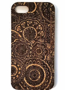 Mandalas bamboo wood iPhone case for iPhone 6, iPhone 6s, iPhone 6 plus, iPhone 7, iPhone 7 plus, iPhone 8, iPhone 8 plus, iPhone X, XS, XR, XS Max