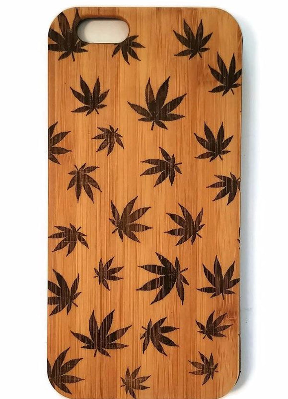 Marijuana Leaves bamboo wood iPhone case for iPhone 6, iPhone 6s, iPhone 6 plus, iPhone 7, iPhone 7 plus, iPhone 8, iPhone 8 plus, iPhone X, XS, XR, XS Max