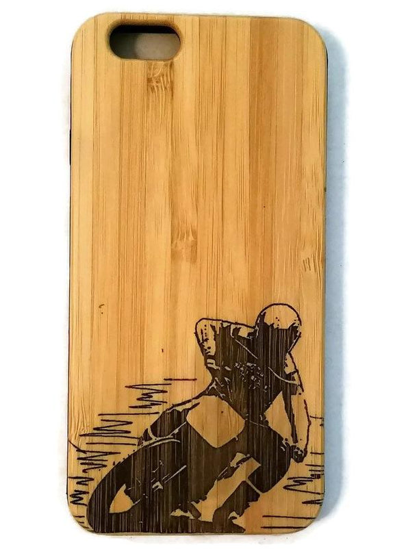 Motocross bamboo wood case for iPhone 6, iPhone 6s, iPhone 6 plus, iPhone 7, iPhone 7 plus, iPhone 8, iPhone 8 plus, iPhone X, XS, XR, XS Max