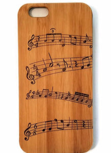 Musical Notes bamboo wood iPhone case for iPhone 6, iPhone 6s, iPhone 6 plus, iPhone 7, iPhone 7 plus, iPhone 8, iPhone 8 plus, iPhone X, XS, XR, XS Max