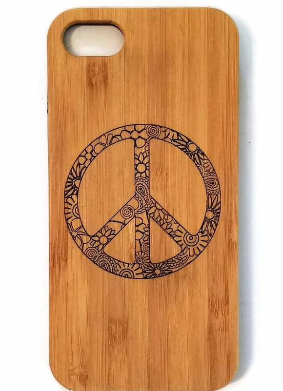 Hippie Peace Sign bamboo wood iPhone case for iPhone 6, iPhone 6s, iPhone 6 plus, iPhone 7, iPhone 7 plus, iPhone 8, iPhone 8 plus, iPhone X, XS, XR, XS Max