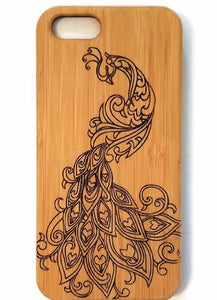 Peacock bamboo wood iPhone case for iPhone 6, iPhone 6s, iPhone 6 plus, iPhone 7, iPhone 7 plus, iPhone 8, iPhone 8 plus, iPhone X, XS, XR, XS Max