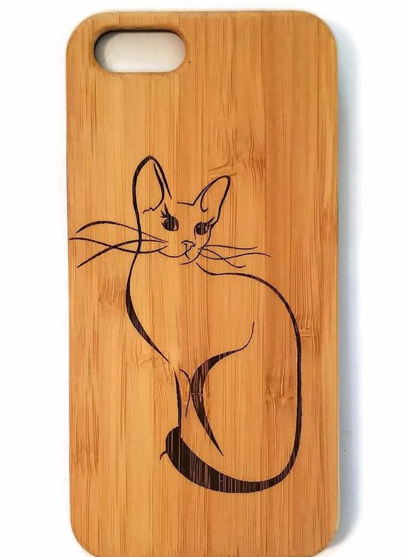 Pretty Cat bamboo wood iPhone case for iPhone 6, iPhone 6s, iPhone 6 plus, iPhone 7, iPhone 7 plus, iPhone 8, iPhone 8 plus, iPhone X, XS, XR, XS Max