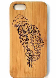 Seahorse bamboo wood iPhone case for iPhone 6, iPhone 6s, iPhone 6 plus, iPhone 7, iPhone 7 plus, iPhone 8, iPhone 8 plus, iPhone X, XS, XR, XS Max
