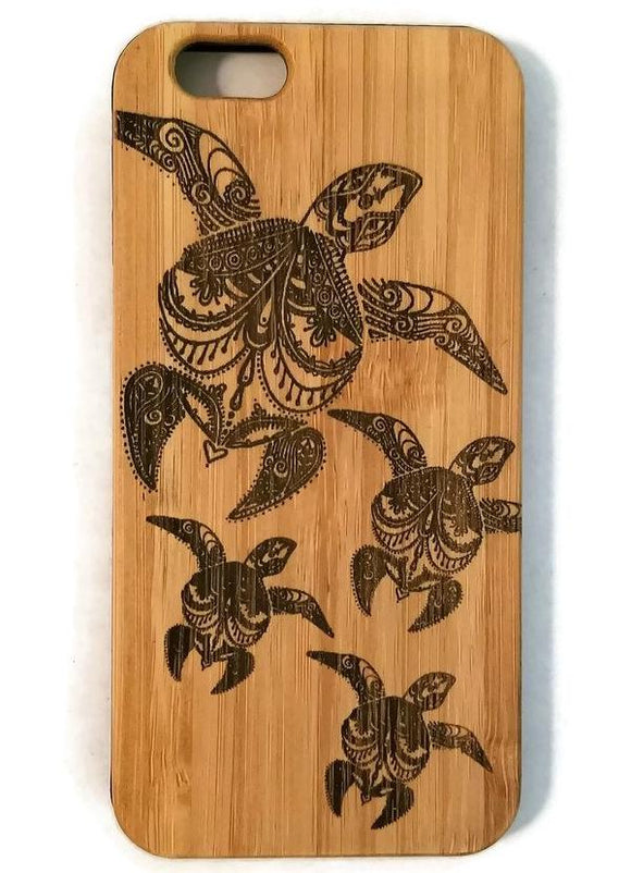 Sea Turtle Family bamboo wood iPhone case for iPhone 6, iPhone 6s, iPhone 6 plus, iPhone 7, iPhone 7 plus, iPhone 8, iPhone 8 plus, iPhone X, XS, XR, XS Max