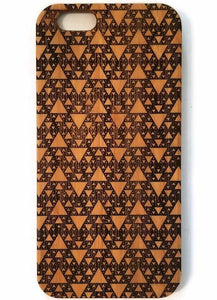 Serpinski Fractal bamboo wood iPhone case for iPhone 6, iPhone 6s, iPhone 6 plus, iPhone 7, iPhone 7 plus, iPhone 8, iPhone 8 plus, iPhone X, XS, XR, XS Max