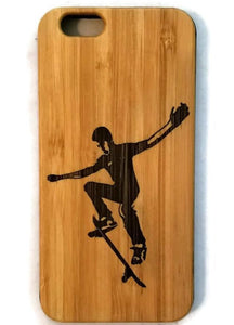 Skateboarder bamboo wood case for iPhone 6, iPhone 6s, iPhone 6 plus, iPhone 7, iPhone 7 plus, iPhone 8, iPhone 8 plus, iPhone X, XS, XR, XS Max