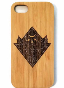 Scary Skull bamboo wood iPhone case for iPhone 6, iPhone 6s, iPhone 6 plus, iPhone 7, iPhone 7 plus, iPhone 8, iPhone 8 plus, iPhone X, XS, XR, XS Max